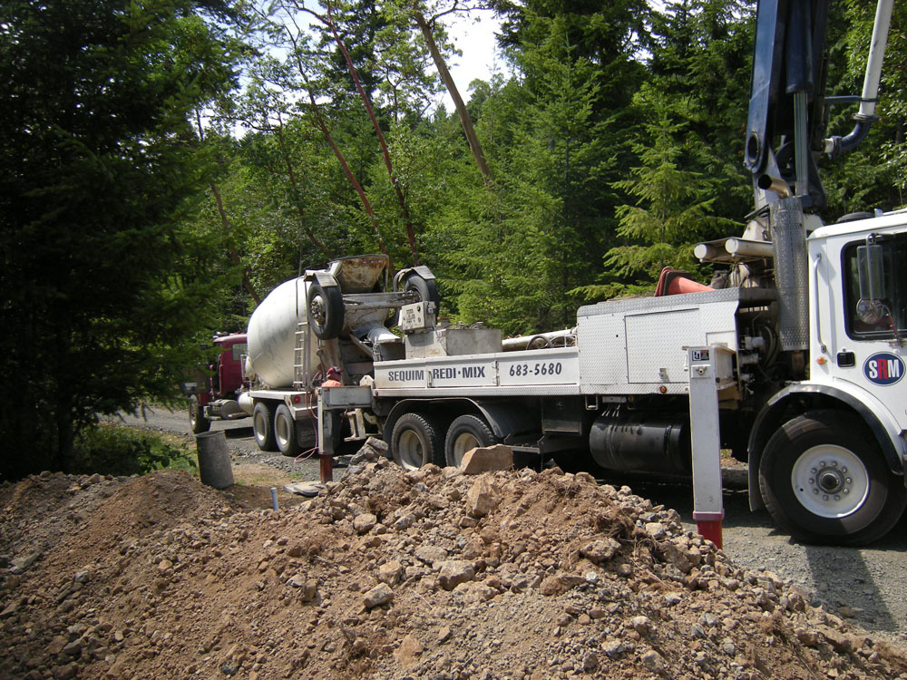 Cement truck for the foundation.